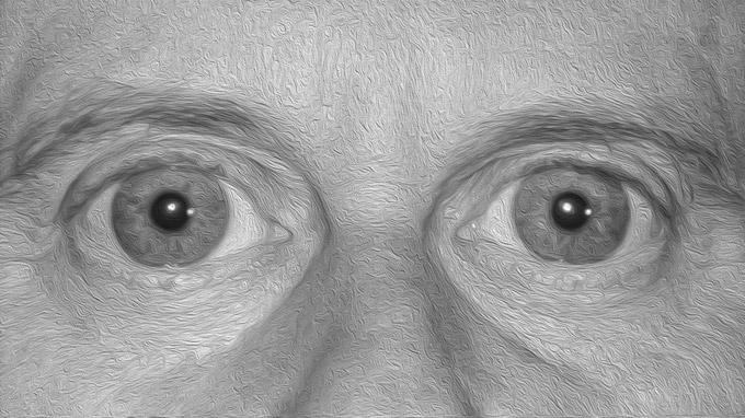 Mag. Johann Varga / große Augen Ölbild in schwarzweiß / Zum Vergrößern auf das Bild klicken