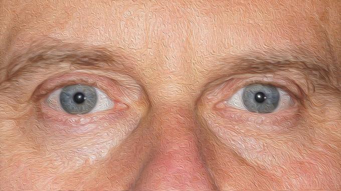 Mag. Johann Varga / Blaue Augen Ölbild / Zum Vergrößern auf das Bild klicken