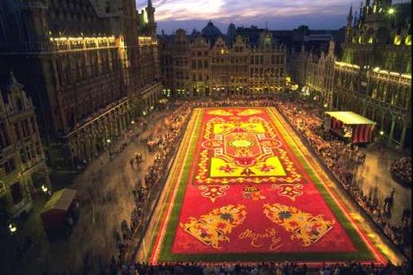 Br�ssel, Belgien - Blumenteppich Luftaufnahme