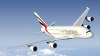 Emirates A380 flying
