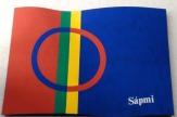 Jokkmokk, Schweden - Fahne der Samen / Zum Vergrößern auf das Bild klicken