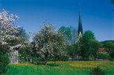Frühlingsansicht von Prien, Bayern / Zum Vergrößern auf das Bild klicken