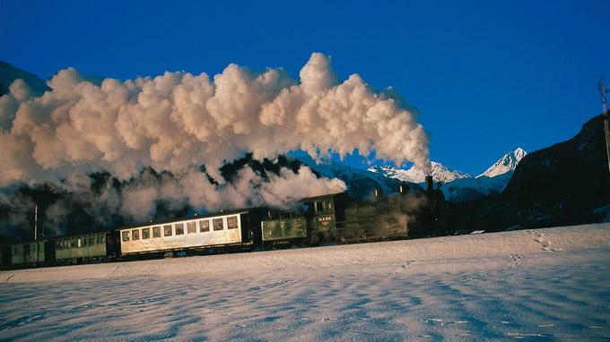 © Rhätische Bahn / RhB, Schweiz - Dampffahrt / Zum Vergrößern auf das Bild klicken