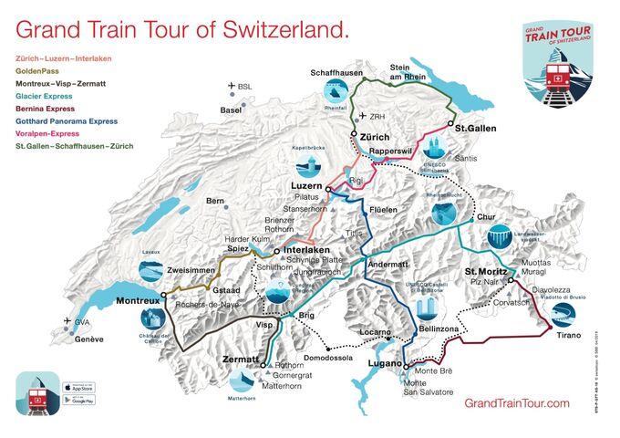 Karte Grand Train Tour of Switzerland