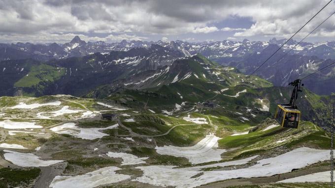 © Deutsche Zentrale für Tourismus e.V./Natalia Malec / Nebelhorn Seilbahn mit Blick über die Allgäuer Alpen / Zum Vergrößern auf das Bild klicken