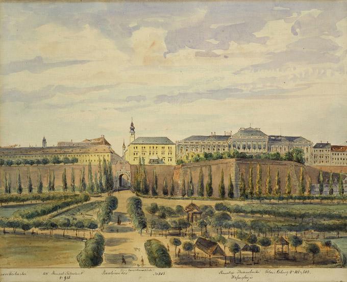 © Hütter Emil, ÖNB-Bildarchiv / Bild Palais Coburg auf der Braunbastei 1858 / Zum Vergrößern auf das Bild klicken