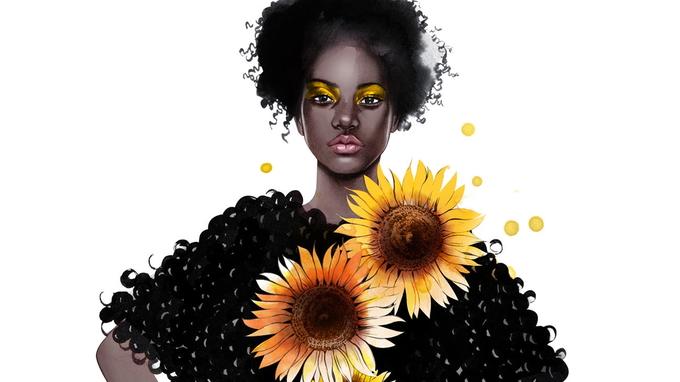 © Illustration Aphia Sakyi / Sonnenblume_detail - Designerin Aphia Sakyi / Zum Vergrößern auf das Bild klicken