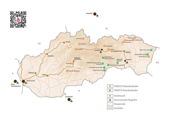© slovakia.travel / UNESCO-Welterbe-Karte Slowakei / Zum Vergrößern auf das Bild klicken