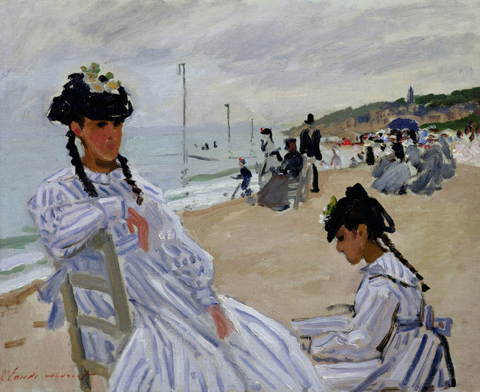 © Musée Marmottan Monet, Paris / Bridgeman Images / Albertina, Wien - Claude Monet, Am Strand von Trouville 1870 / Zum Vergrößern auf das Bild klicken