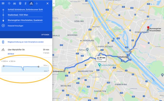 © Google Austria / google1 - Fahrradroute / Zum Vergrößern auf das Bild klicken