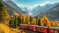 © Switzerland Tourism / Jan Geerk / Pontresina, CH - RhB mit Morteratsch / Zum Vergrößern auf das Bild klicken