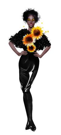 © Illustration Designerin Aphia Sakyi / Sonnenblume - Designerin Aphia Sakyi / Zum Vergrößern auf das Bild klicken