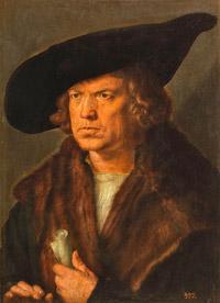 © Museo Nacional del Prado, Madrid / Albertina, Wien - Albrecht Dürer_Bildnis eines bartlosen Mannes mit Barett / Zum Vergrößern auf das Bild klicken