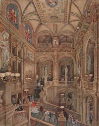 © Liechtenstein - The Princely Collections, Vaduz-Vienna / Albertina, Wien - Rudolf von Alt, Treppenhaus des kkHof-Operntheaters / Zum Vergrößern auf das Bild klicken